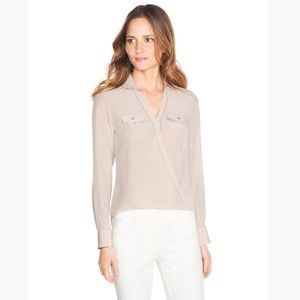 WHBM Beige Silk Surplice Shirt Blouse sz 10P [D8]
